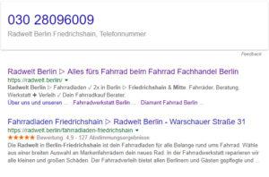 Radwelt Berlin Friedrichshain - Telefonnummer