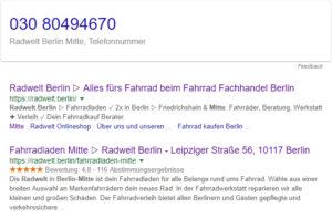 Radwelt Berlin Mitte - Telefonnummer